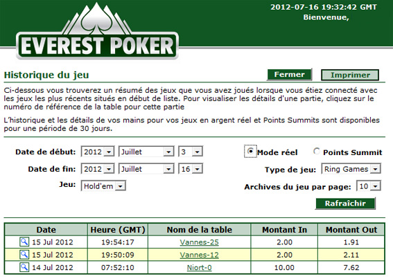 historique mains everest poker