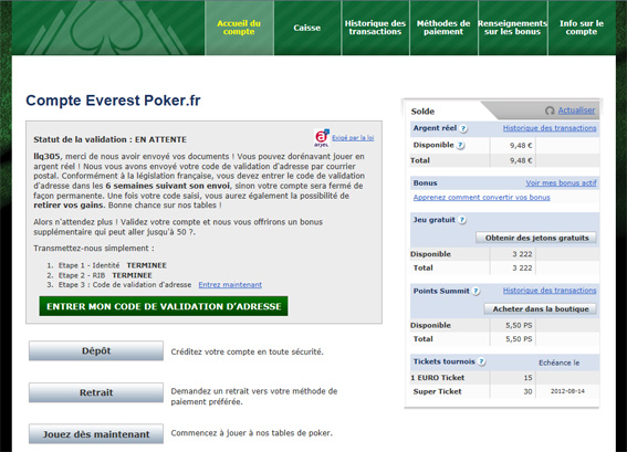 validation everest poker