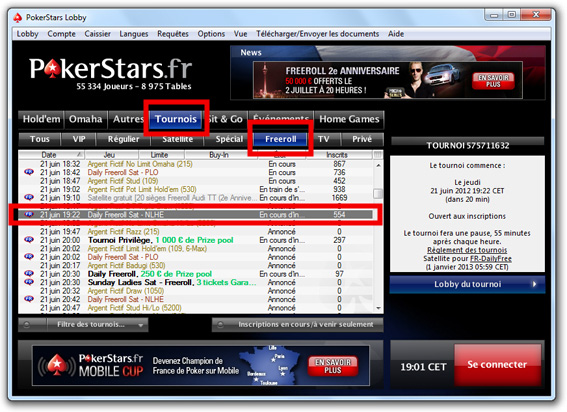 freeroll pokerstars lobby