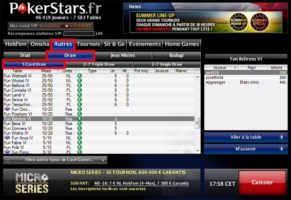 pokerstars poker fermé lobby