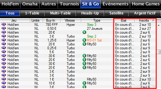 pokerstars sit and go etat inscrits