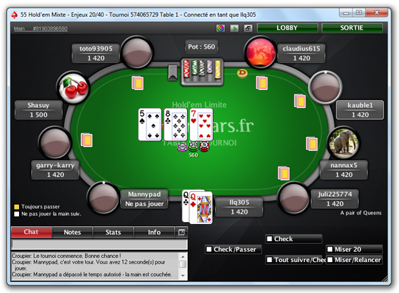 s'inscrire pokerstars table