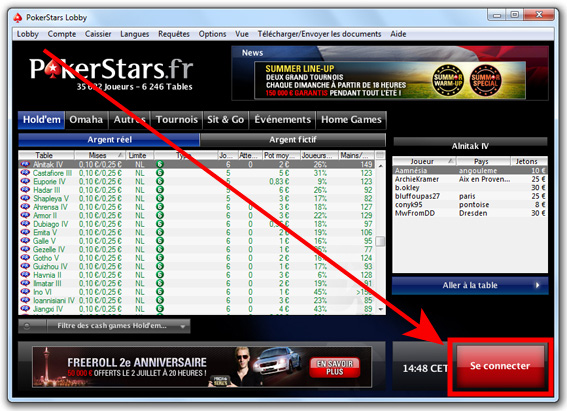 se connecter pokerstars