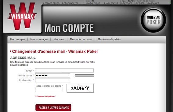mon compte winamax changement email